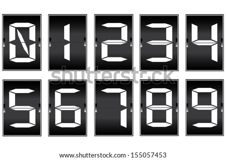 set digital number  on a mechanical timetable  - stock vector