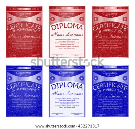 Set diploma, certificate of appreciation, achievement. Red and blue.Vertical template. Award winner. Reward. Winning the competition. The text on separate layer. Vector illustration. - stock vector