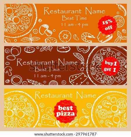 Set discount fliers for pizzeria and restaurants. Vector illustration for banners, posters, fliers, web design with hand drawn doodle elements - stock vector