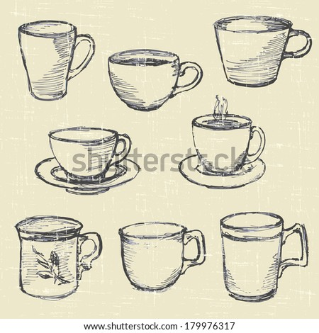set drawn cups, hand drawn sketches - stock vector