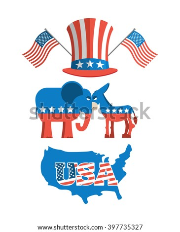 Set elections in America. Uncle Sam hat. American flag. Set political debate in United States. USA map. Donkey and elephant symbols of political parties. Democrats against Republicans - stock vector