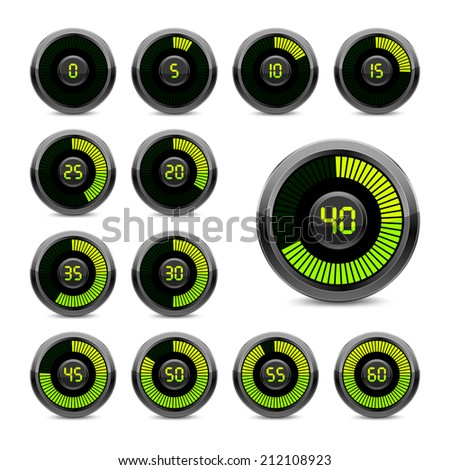 Set electronic timer on a white background. Green indicator. EPS-10. Used mesh gradient and transparency.  - stock vector