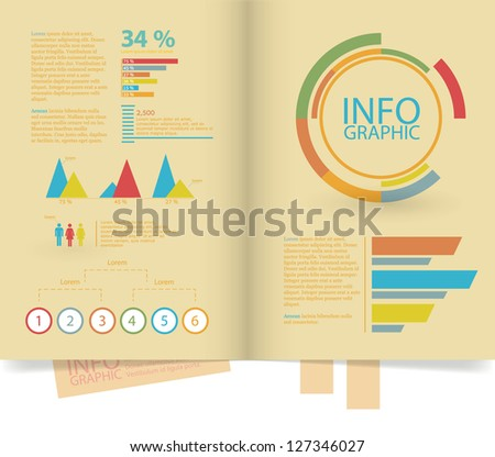 Set elements of infographics, and Information Graphics, in book form. - stock vector