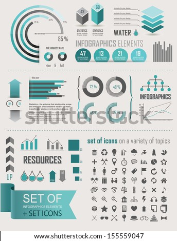 Set elements of infographics plus a set of icons_ lifestyle_ecology_ sports economics - stock vector