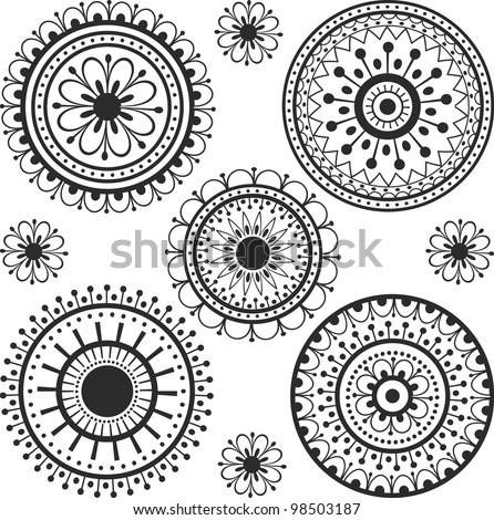 set ethnic tattoos with floral elements - stock vector