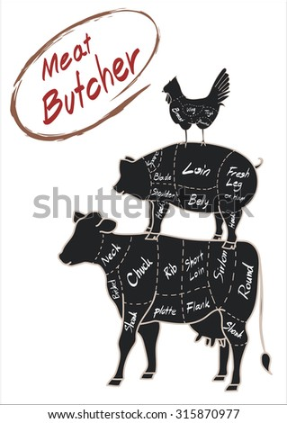 set farm animal cow pig chicken meat butcher drawing doodle with detail meat brush font vector illustration - stock vector