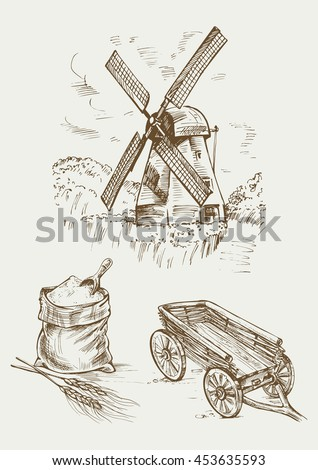 Set farm object: rustic old mill, flour bag and a cart. Hand drawn vector illustration in vintage style. - stock vector