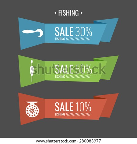 Set. Fishing tackle.Fishing reel, float, bait. Vector elements, eps 10. Icons and illustrations for design, website, infographic, poster, advertising. - stock vector