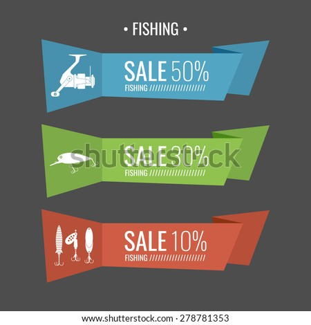 Set. Fishing tackle.Fishing reel, hooks, bait. Vector elements, eps 10. Icons and illustrations for design, website, infographic, poster, advertising. - stock vector