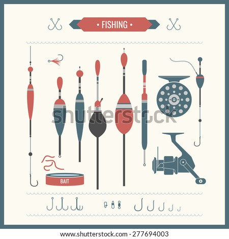 Set. Fishing tackle.Fishing reel, hooks, float, fishing line, lure, bait. Vector elements, eps 10. Icons and illustrations for design, website, infographic, poster, advertising. - stock vector