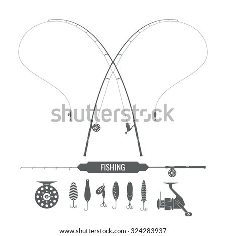 Set. Fishing tackle. Fishing rod, fishing reel, hooks. Icons and illustrations for design, website, infographic, poster, advertising. - stock vector