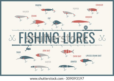 Set. Fishing tackle. Fishing rod, fishing reel, hooks. Vector elements, eps 10. Icons and illustrations for design, website, infographic, poster, advertising. - stock vector