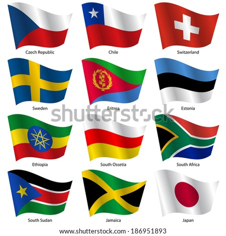 Set  Flags of world sovereign states. Vector illustration. Set number 17. Exact colors. Easy changes. - stock vector