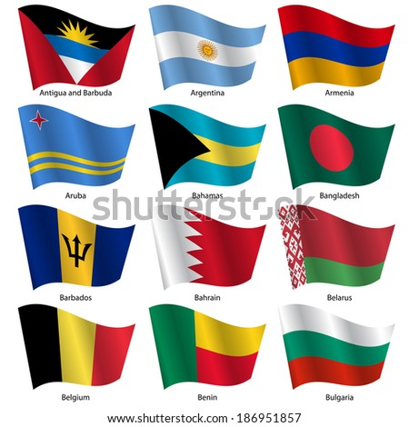 Set  Flags of world sovereign states. Vector illustration. Set number 2. Exact colors. Easy changes. - stock vector