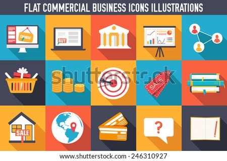 set flat business commerce icons design. Vector illustration concept. Template for website and mobile appliance - stock vector