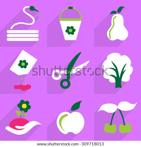 Set flat design with shadow and modern icon garden - stock vector