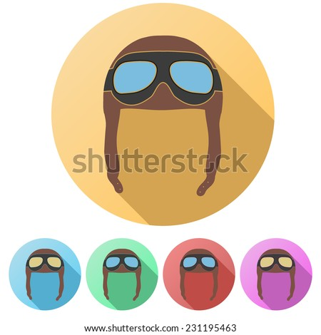 Set Flat icons of Retro aviator pilot leather helmet with goggles. Vintage object. Vector Illustration. Isolated on white - stock vector