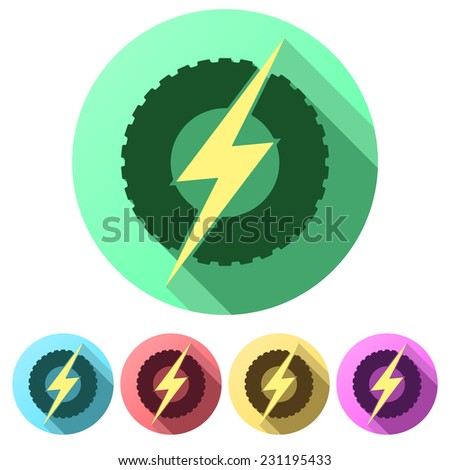 Set Flat icons of round wheel with lightning. Eco electric transport theme. Car and automobile industry. Vector Illustration isolated on white background. - stock vector