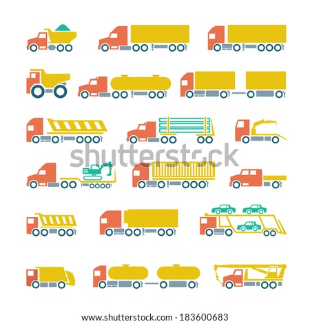 Set flat icons of trucks, trailers and vehicles isolated on white. Vector illustration - stock vector