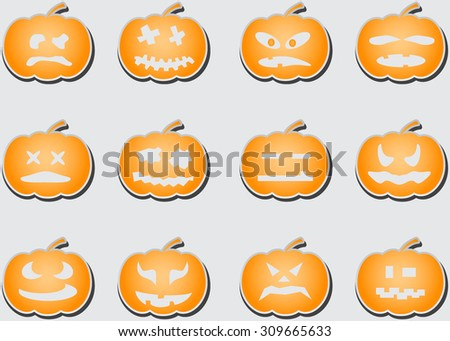 Set flat pumpkins for holiday halloween - stock vector