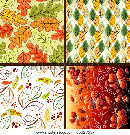 Set floral bright seamless patterns with leaves (vector) - stock vector