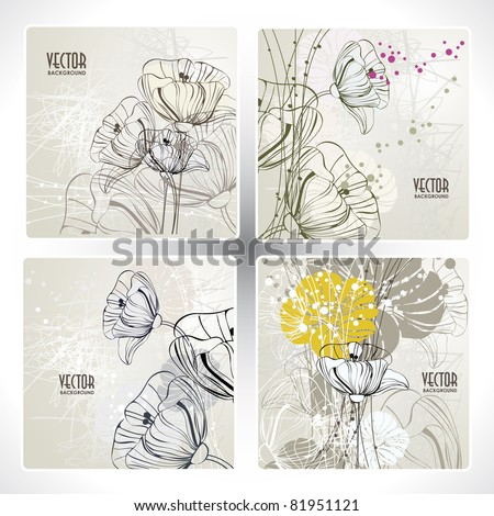 set floral card - stock vector
