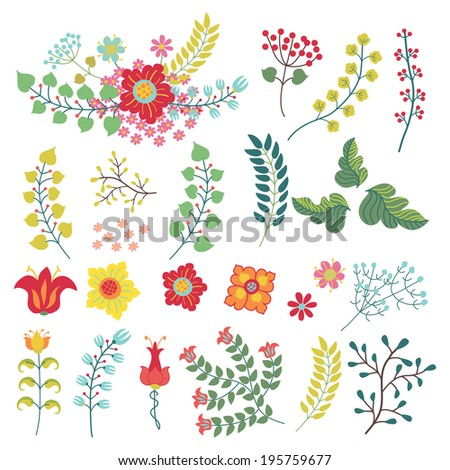 Set floral stylized items in retro style.  - stock vector