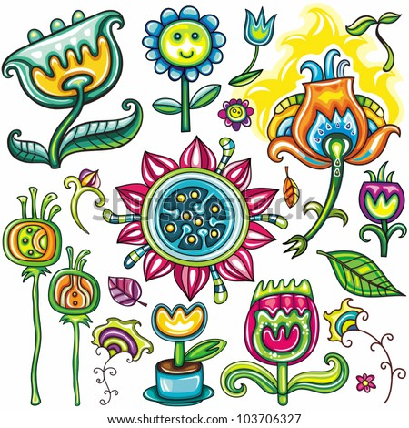 Set flowers floral icons. beautiful different colors, representing spring and summer. - stock vector