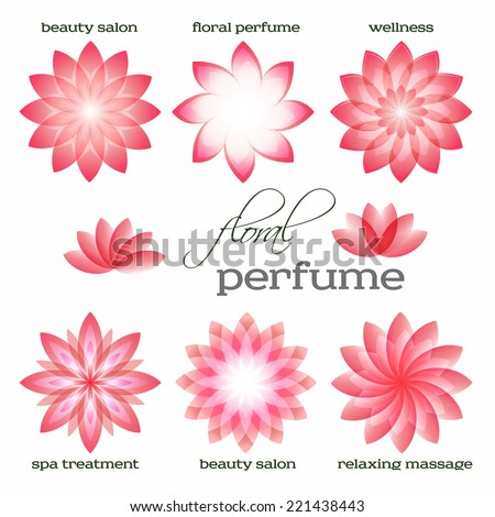 Set flowers isolated abstract icons design. Floral parfum & organic cosmetician for spa treantment. Concept symbol for boutique, beauty salon, relaxing massage, resort. Vector illustration EPS 10 - stock vector