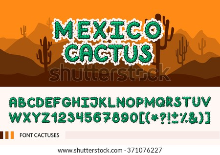 Set font with with spines / thorns. Barbed font. Horizontal banner set with cactus plants isolated vector illustration.  - stock vector