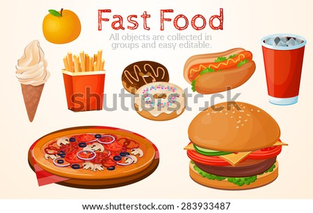Set, food, fast, American, without a background, restaurant, cafe, white - stock vector