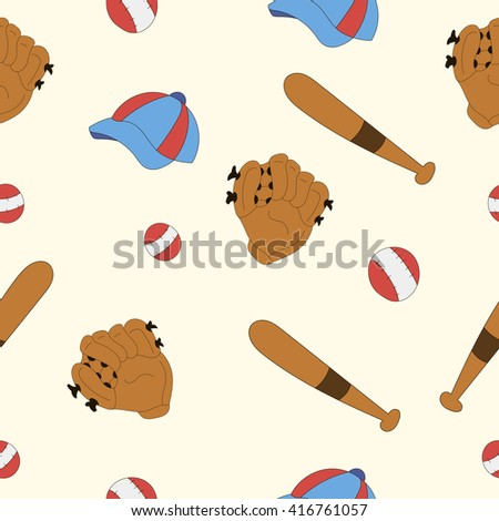 set for baseball, glove, cap, bat, game, sport pattern - stock vector