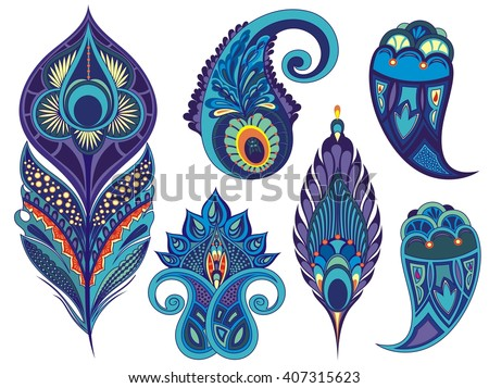 Set for design with peacock feathers, branches, leaves, flowers and decorative elements - stock vector