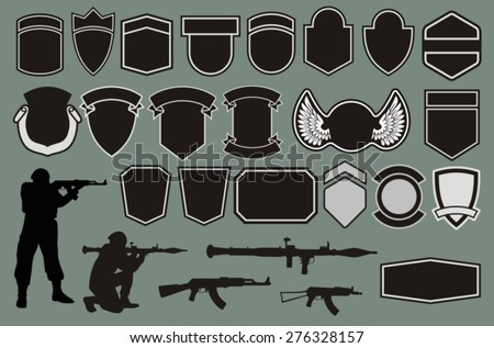Set for designing of military badges - stock vector