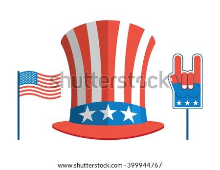 Set for elections in America. Uncle Sam hat. USA flag. Set for political debate in United States.  Foam finger. National Patriotic Rock foam finger gesture - stock vector