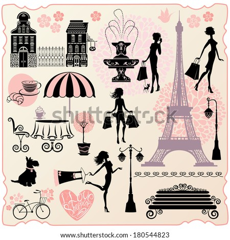 Set for fashion or retail design - Effel Tower, houses, heart with calligraphic text I Love Shopping, girls silhouettes with shopping bags - stock vector