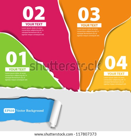 Set for infographics with colored papers with torn edges - stock vector