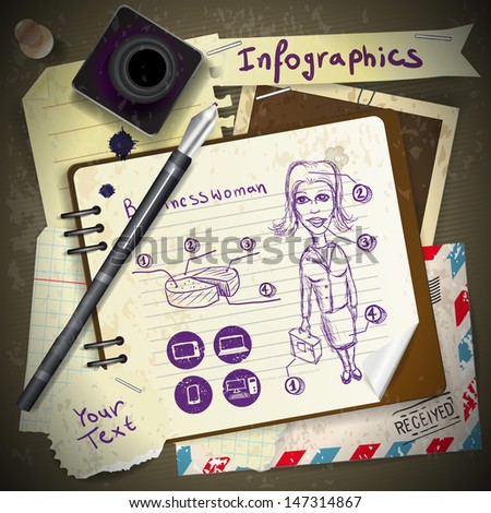 Set for infographics with stationery and business woman drawing ink - stock vector