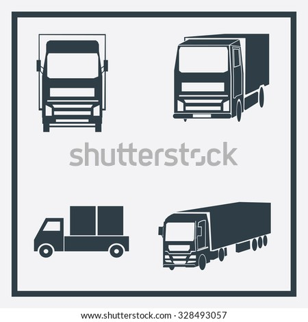 Set for internet. Lorry icon, - stock vector