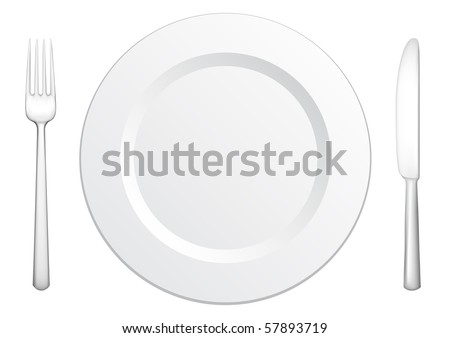 Set for meal, a knife a fork and a plate - stock vector