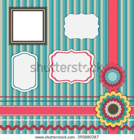 Set for scrapbooking, frames, ribbons, flowers - stock vector