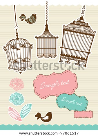 set for scrapbooking with vintage birdcage - stock vector