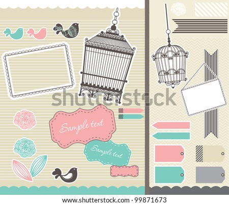 set for scrapbooking with vintage birdcage and frames - stock vector