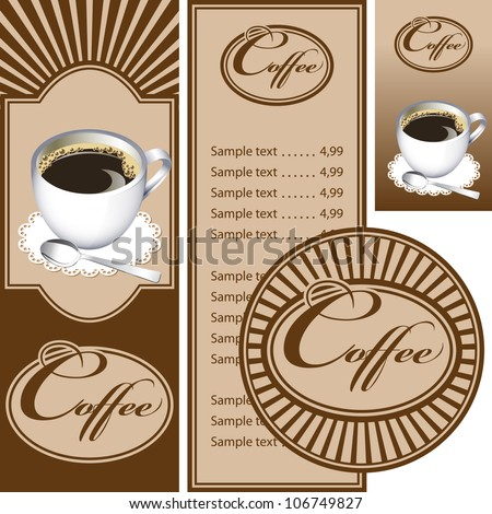 Set for the cafe menu, business card and coasters for drinks. All elements are grouped. Vector images for easy editing. - stock vector