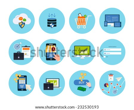 Set for web and mobile applications of  data protection, online shopping, pay per click, analytics search information, internet security, seo, market research concepts items icons in flat design - stock vector