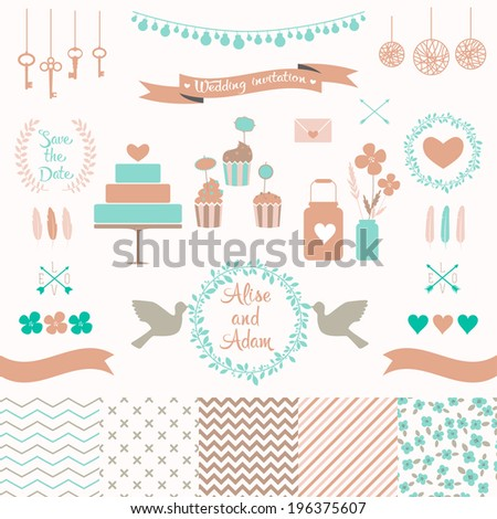 Set for wedding design. Includes a cake, cupcakes, flags, arrows, frames, hearts, banks, keys, tape, pigeons, seamless floral, stripes, doted, chevron patterns. Love elements for your design Eps 10 - stock vector