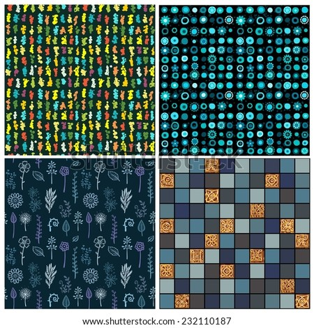 Set four abstract seamless backgrounds of dark blue color. - stock vector