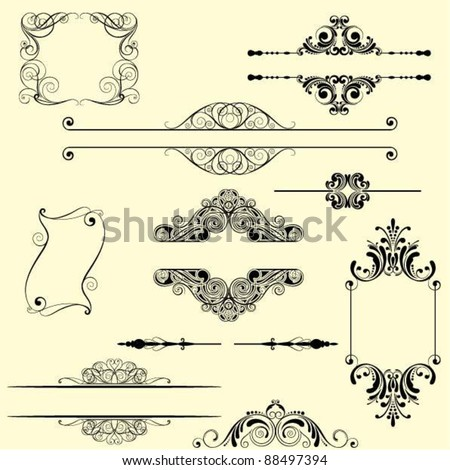 Set frame and decorative element.Set of abstract frame and decorative elements, black colored.Each of them group singly. - stock vector