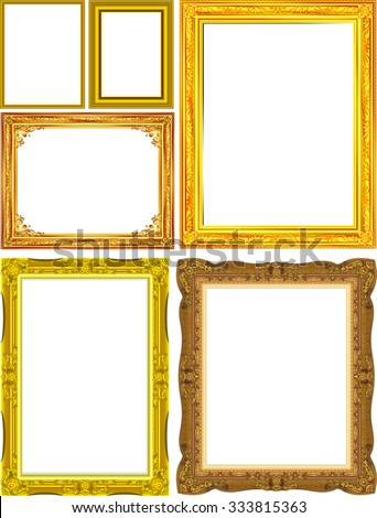 set frame picture vector floral concept, gold frame picture - stock vector