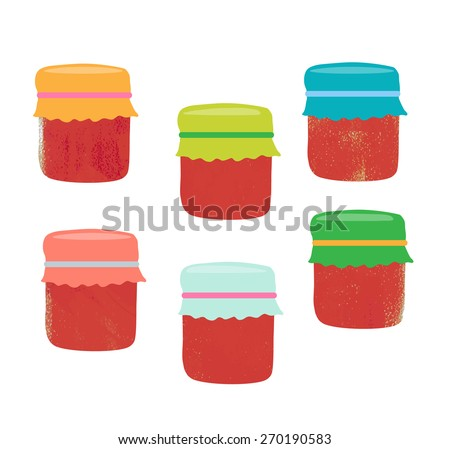 Set from colorful jars, vector illustration - stock vector
